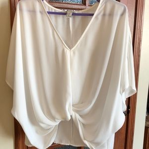 Forever 21 white sheer crop blouse